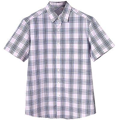 ZMLIA Men Summer Striped Button Down Pocket Short Sleeve Business Dress Shirt