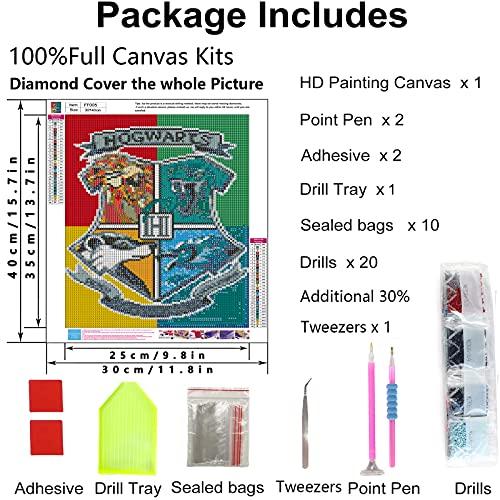Diamond Painting Kits for Adults Harry Magic Boy Potter Diamond Painting Magic Badge Home Wall Decor 12x16inc