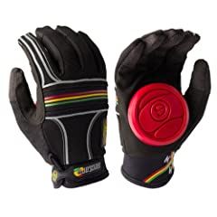 Sector 9 Longboard BHNC Slide (Rasta) Gloves by Sector 9 with reinforced leather thumb and industrial strength velcro available online now at Black Diamond Sports
