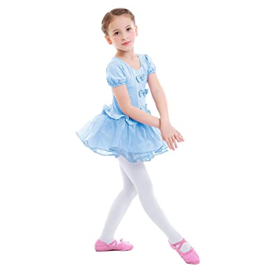 7e5f8df268b8 OBEEII Girls Ballet Tight Leotard Bowknot Tulle Spliced Tutu Skirt ...