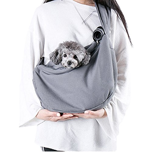 Dog Sling Carrier Pet Puppy Bag Hands Free Kitty Rabbit Small Animals Shoulder Carry Handbag Front Pack with Adjustable Strap (Grey)