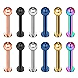 Ruifan 12PCS Assorted Colors Stainless Steel Ball Labret Monroe Lip Ring/Tragus/Helix Earring Stud Barbell Body Piercing Jewelry 12G 10mm