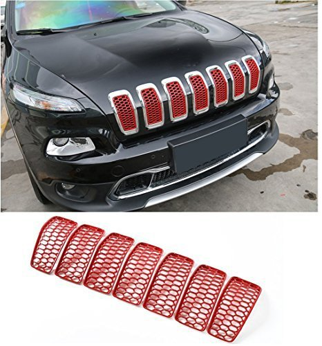 Nicebee 7pcs Headlight ABS Front Turn Signal Trim Grill Ring Mesh Grille Cover Insert Fits For Jeep Cherokee 2014-2017 Red