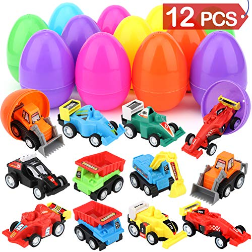 """Sizonjoy 12 Pcs Filled Easter Eggs with Toy Cars,3.3"""" Filled Surprise Eggs for Easter Theme Party Favor,Eggs Hunt,Basket Stuffers Fillers"""