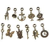 Souarts Mixed Antique Bronze Color Dangle Beads Fits Charm Bracelet Pack of 30pcs