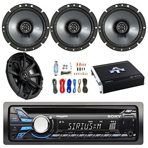 Sony CDXGT570UP Single DIN Car Stereo Receiver with Kicker 43CSC674 6-3/4 Inch 600W Speakers (2-Pairs), Autotek TA10504 TA Series 1000W 4 Channel Amp & Enrock Audio 18-Gauge 50ft Speaker Wire