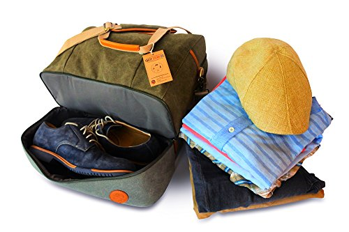 4 Piece Weekend Travel Bag Set - Includes: Canvas Tote, Toiletry Kit, Ipad Wristlet and Weekender Shoulder Bag. Weekend Travel made simple by TASTE DRINK GO. Makes a great Gift! by Taste Drink Go (Image #1)