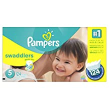 Pampers Swaddlers Diapers Size 5, Economy Pack Plus, 124 Count (Packaging May Vary)
