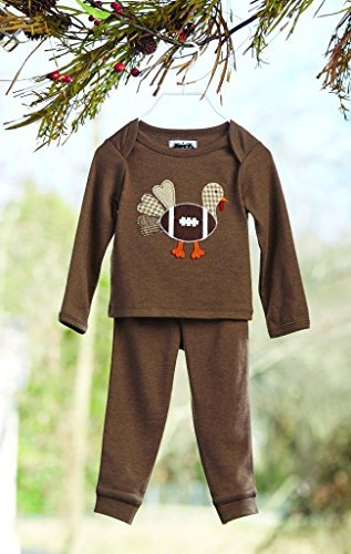Mud Pie Baby Boys Pajama 2-Pc Set Football Turkey Applique, 0-6 Months