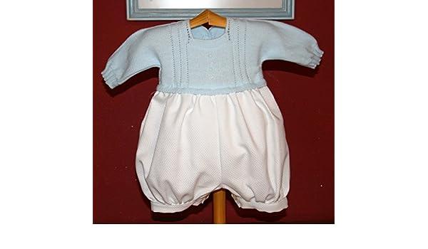 PRIMERAEDAD/Pelele bebé Manga Larga pantalón en Pique Blanco Cuerpo de Punto Celeste. (0 Meses): Amazon.es: Ropa y accesorios