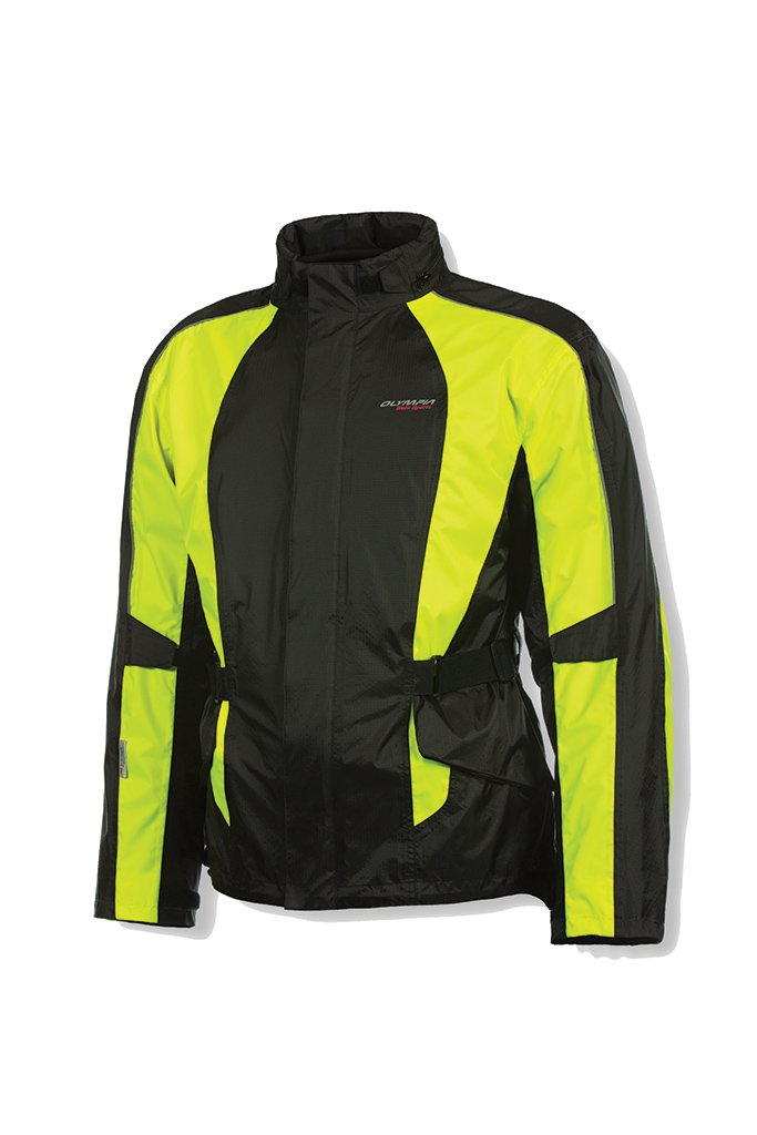 Olympia New Horizon Rain Mens Waterproof Exteriors and Rain Gear On-Road Racing Motorcycle Jacket - Black/Neon Yellow / X-Large/2X-Large 4333055222