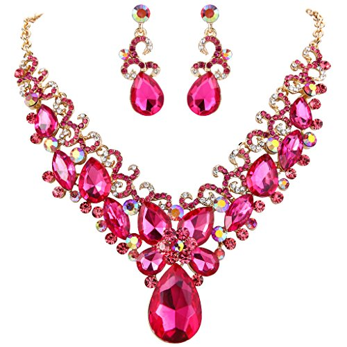 BriLove Women's Bohemian Boho Crystal Teardrop Marquise Butterfly Filigree Statement Necklace Dangle Earrings Set Fuchsia Gold-Tone