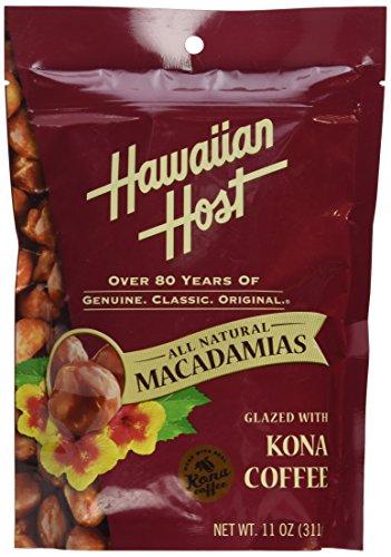 Kona Coffee Macadamia (Hawaiian Host MACADAMIA NUTS -Kona Coffee Glazed , LARGE 11 oz (Resealable Bag))