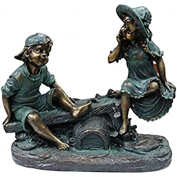 Alpine Girl and Boy Playing on Teeter Totter Statue