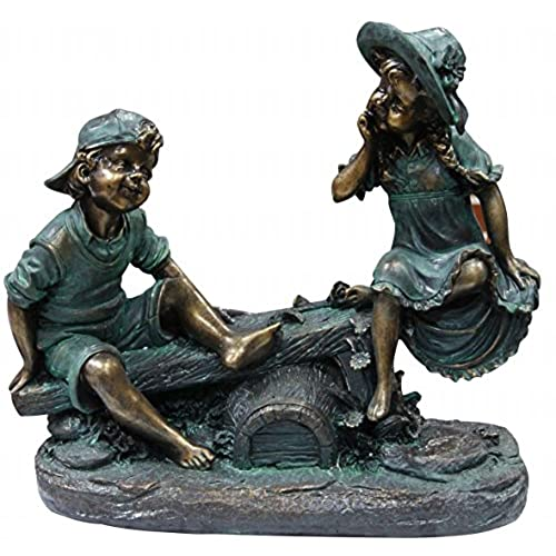 children garden statues. Alpine Girl And Boy Playing On Teeter Totter Statue Children Garden Statues