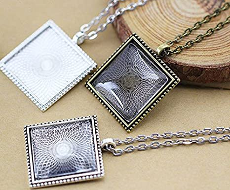 Miraclekoo 20 Set Square Bezel Pendant Trays with Glass Dome Tiles Cabochon 25 mm Blanks Cameo Bezel Cabochon Settings