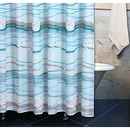 1 Piece Aqua Grey Coastal Ocean Wave Themed Shower Curtain Silky Elegant Design Sea