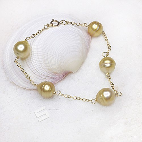 Golden South Sea Pearls Bracelet, Baroque 10-11mm Golden Pearl And 14KT Gold Filled Chain-Link Bracelet, Saltwater Clutured Pearls -