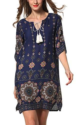ARANEE Sexy Women Floral 3/4 Sleeve V-Neck Beach Boho Casual Mini Dress
