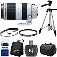 Canon EF 100-400mm f/4.5-5.6L IS II USM Lens (9524B002) Bundle - Includes Lens, Hi-Speed SD USB 2.0 Card Reader, Gadget Bag, Tripod, Cleaning Cloth, Cap Keeper, Memory Card Wallet and Filter