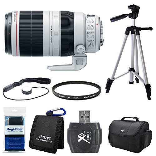 Canon EF 100-400mm f/4.5-5.6L IS II USM Lens (9524B002) Bundle - Includes Lens, Hi-Speed SD USB 2.0 Card Reader, Gadget Bag, Tripod, Cleaning Cloth, Cap Keeper, Memory Card Wallet and Filter by Canon