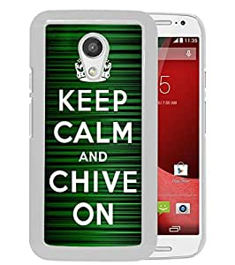 Custom Luxury Cover Case With Keep Calm and Chive on White Moto G (2nd generation) Case