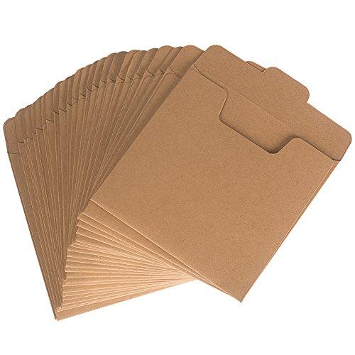 Benail 50 Pcs Kraft DVD Sleeve CD Paper Envelopes Kraft Paper Cardboard 5