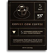 Copper Cow Coffee Vietnamese Single-Use Portable Pour Over – with California Sweetened Condensed Milk Packets – Dark Espresso Roast – 100% Ethically Sourced & Sustainably Grown (5 Pack)