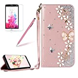 Glitter Leather Case Cover for LG G6,Girlyard Shiny Bling DIY Crystal Diamond Magnetic Closure Flip Case with [Wrist Strap] with [Card Slots] Stand Function Shockproof Wallet Case Cover for LG G6
