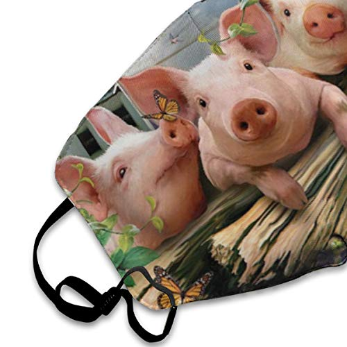Face Masks, Breathable Dust Filter Masks Medical Mask Mouth Cover Masks with Elastic Ear Loop (Pigs Swallows Three Farm Pond Art) White