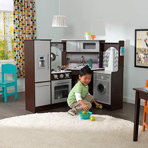KidKraft Ultimate Corner Wooden Play Kitchen with Lights & Sounds, Play Phone and Curtains,Gift for ages 3+, Espresso