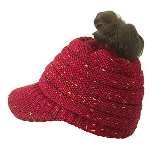 Hats Beanie Tail Cable Colored-Spots Messy Bun Ponytail Visor Beanie Cap Red ()