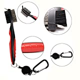 Sportsun-Golf-Brush-and-Club-Groove-Cleaner-with-2ft-Retractable-Zip-Line-Lightweight-with-Ergonomic-Design-Easily-Attaches-to-Golf-Bag-Red-Color