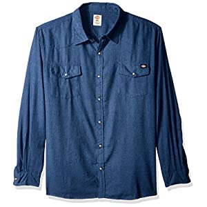 Dickies Men's Regular Fit Long Sleeve Brushed Flannel Solid Western Shirt