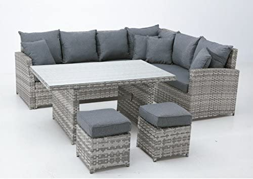 Set sofa mesa comedor rattan gris zone: Amazon.es: Jardín