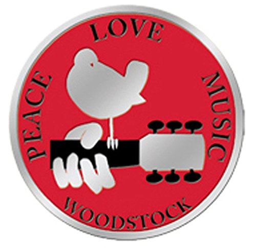 WOODSTOCK Peace Love Music, Officially Licensed Artwork, Premium Vinyl Silver Metallic Finish, 1.25' x 1.25' Metal Sticker Aufkleber 1.25 x 1.25 Metal Sticker Aufkleber Officially Licensed & Trademarked Products S-7754-M