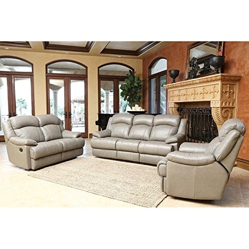 Abbyson Warwick Leather Reclining Sofa Loveseat and Recliner in Gray -