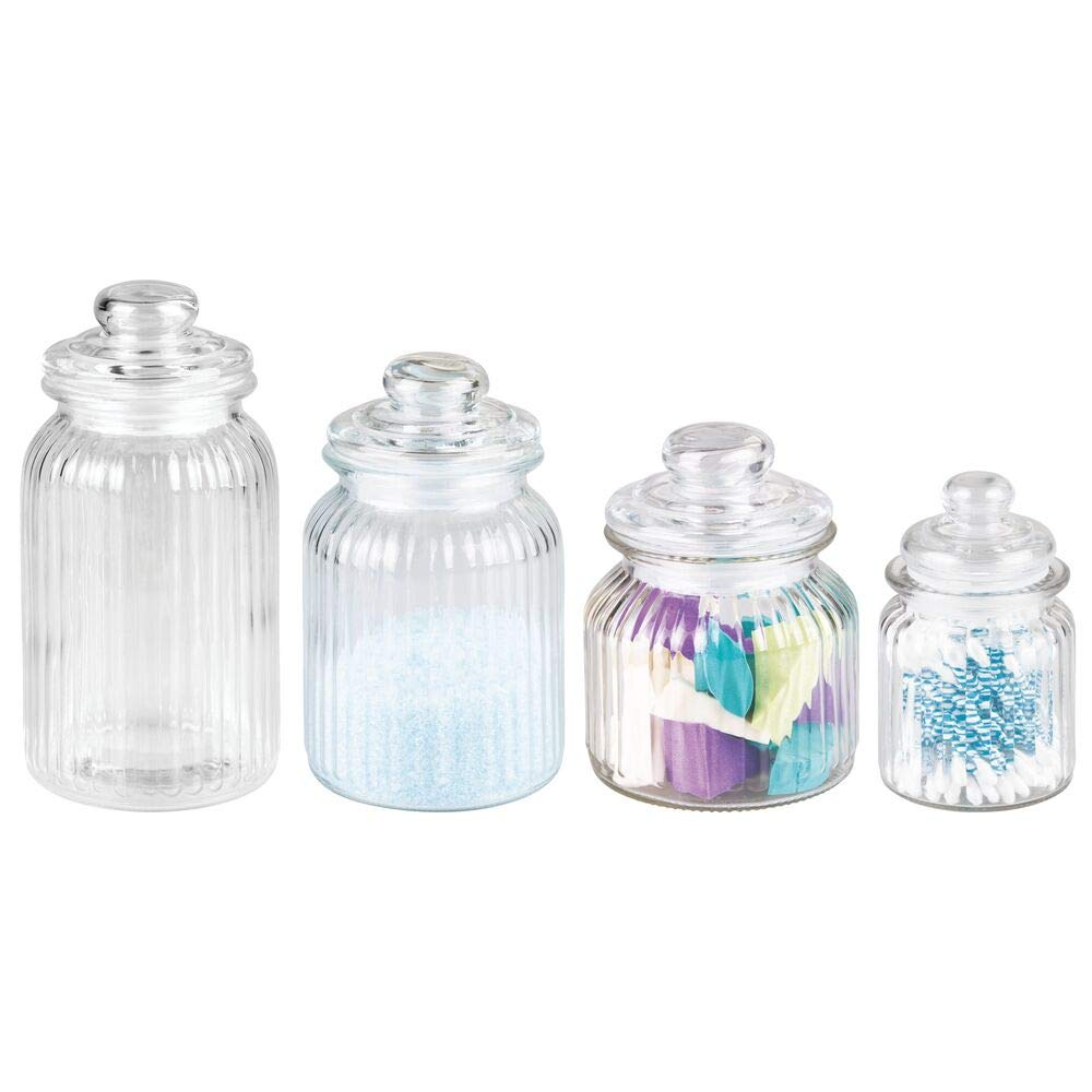 mDesign Fluted Glass Vanity Canister Jars for Cotton Balls, Swabs, Cosmetic Pads - Set of 4, Clear