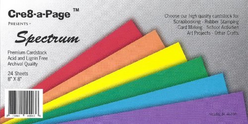 Cre8-a-Page 8x8 Spectrum Cardstock Multi-Color Pack, 24 Sheets, 6 Colors Card Stock