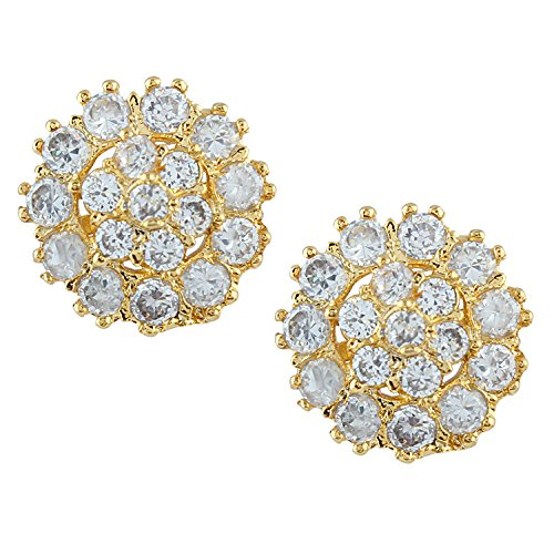 Efulgenz Indian Bollywood Designer 18 k Gold Plated Traditional CZ Stud Earrings Jewelry for Women and Girls Gift for Her ()