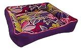 Medium Color Flower Purple Dog Bed - Washable Reversible