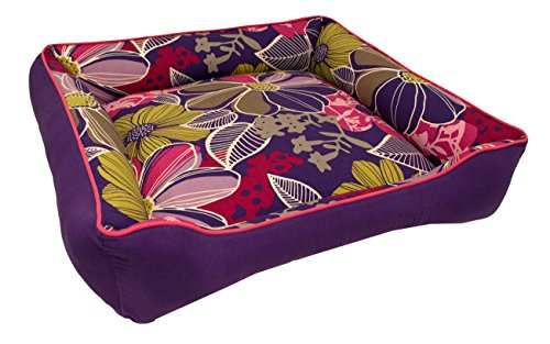 Medium Color Flower Purple Dog Bed - Washable Reversible by J'adore Custom Pet Beds