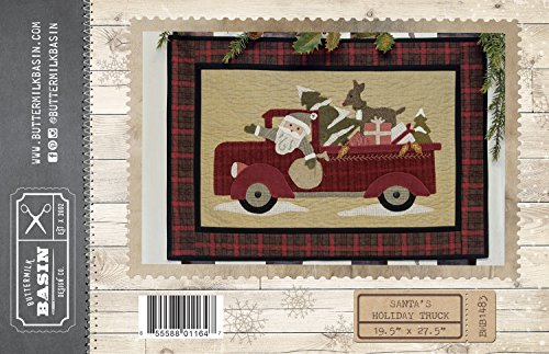 (Santa's Holiday Truck Christmas wool applique pattern - by Buttermilk Basin - 19.5