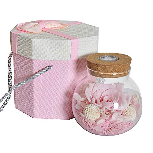 SANRAN Forever Flower, Preserved Eternal Real Rose Present with Led Mood Light, Best Gift for Mother's Day,Thanksgiving Day,Birthday, Anniversary, Valentine's Day, Christmas(Pink Lady Max) ()