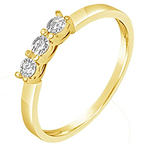 f2c5eaca391f Anillo Mujer Compromiso Oro y Diamantes - Oro Amarillo 9 Quilates 375 ♥  Diamantes 0.03 Quilates  Amazon.es  Joyería