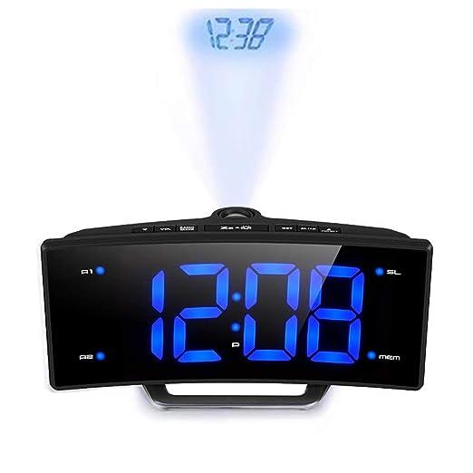 SDFGETG Espejo Radio FM Reloj Despertador Led Digital Mesa ...