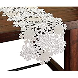 Shimmer Snowflake Embroidered Cutwork Christmas Table Runner, 16 by 34-Inch