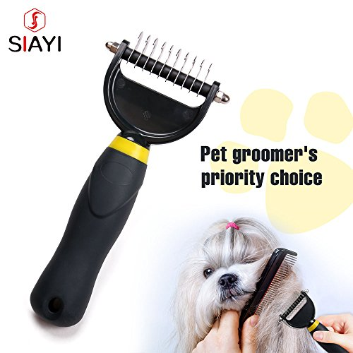 Remove Hair Knots Quickly SIAYI Stainless Steel Blade Dog Shedding Brush Long Hair Pet Grooming Tools (General, Black)