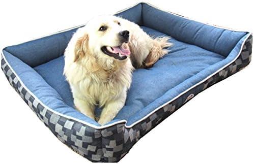 L-Peach 洗えるペット用ベッド 耐噛み素材 通気 ソフト クッション ペットマット ぐっすり眠れる 犬 猫 屋内 ペットハウス L 90x70x25cm 35Kg以下