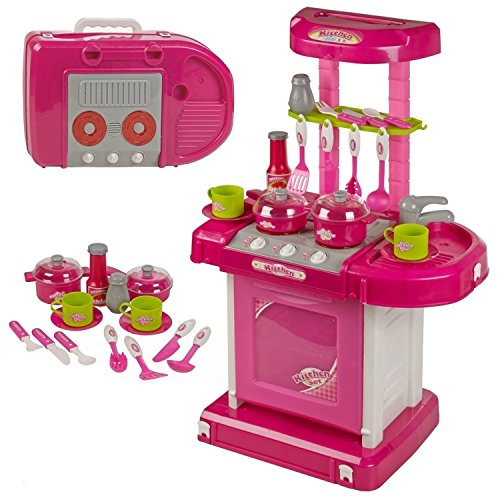 toyshine luxury battery operated kitchen set with lights, sound and carry case- Pink